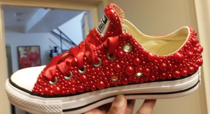 Lo's New Red Beaded Chucks (8-10-15) #1