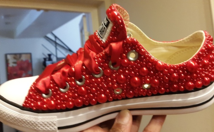 Lo's New Red Beaded Chucks (8-10-15) #1