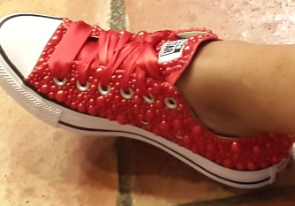 Lo's New Red Beaded Chucks (8-10-15) #2